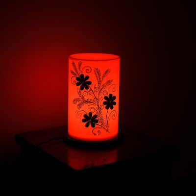 eCraftIndia Floral Wooden Block Table Lamp(20 cm, Orange, Brown)