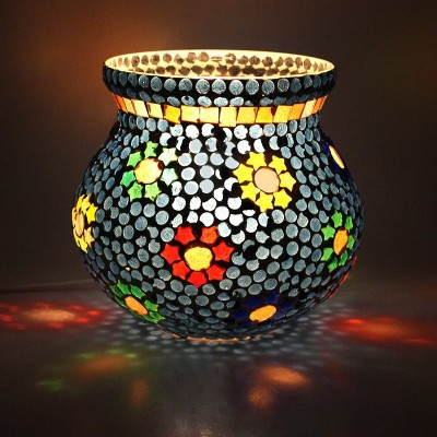 EarthenMetal Handcrafted Blue Polka Decorated Pot Shaped Glass Table Lamp