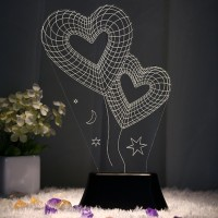BonZeal Heart 3D (Double Heart) Table Lamp(27 cm, Black, White)