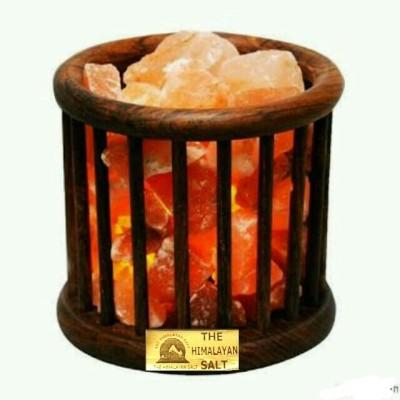 The Himalayan Salt Wooden Basket Cage Shape Table Lamp