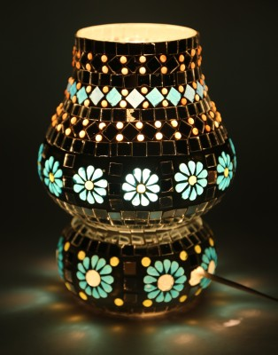 EarthenMetal Handcrafted Mosaic Style Crystal & Glasss Table Lamp
