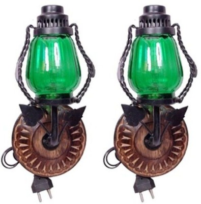 Onlineshoppee Wooden & Iron Electric Chimney Lamp Table Lamp