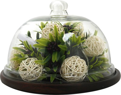 Thinking Of You Starlit Plug Free LED White Woven Berry Ecosystem Dome Table Lamp