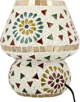 Gojeeva Floral Table Lamp(17 cm, White, Maroon, Green)