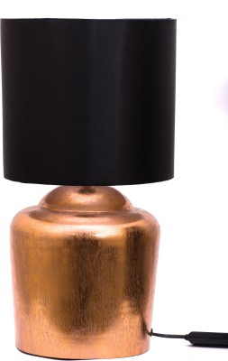 Courtyards Moksha Copper Foil Table Lamp With Black Shade Table Lamp