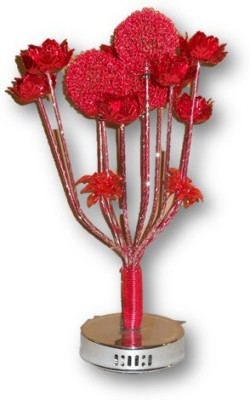 Sudesh Decor Metallic Red Flower Vase Designer Lamp Table Lamp