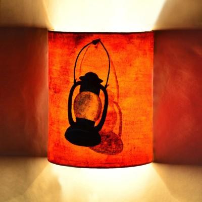 ExclusiveLane Canvas Handpainted Half Cylindrical Night Lamp