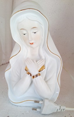 CMG White / Gold Mary with Cross Hands Table Lamp