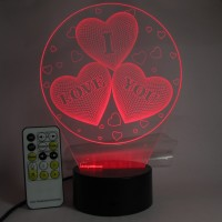 Varna Crafts Lampees LUV Hearts 3D Illusion Led Night Lamp(23 cm, Multicolor)