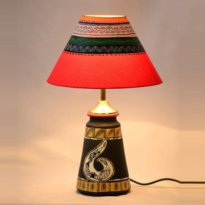 ExclusiveLane Terracotta Handpainted Madhubani Art Tappered Table Lamp