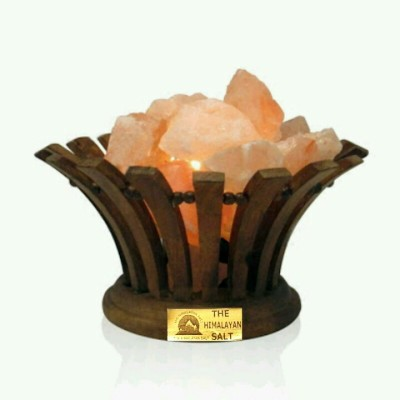 The Himalayan Salt Wooden Basket Flower Shape Table Lamp