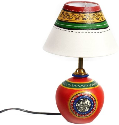 Aapno Rajasthan Colorful Hand Painted Terracotta Pot Table Lamp