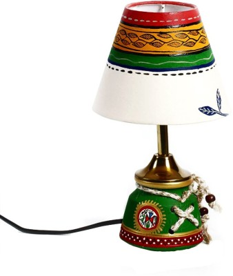 Aapno Rajasthan Green Terracotta Base Hand Painted Motifs And Cord Accents Table Lamp