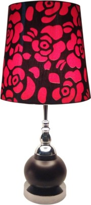 Diya Designs Wood and Chrome Finish with Dimmer and Red & Black Shade Table Lamp