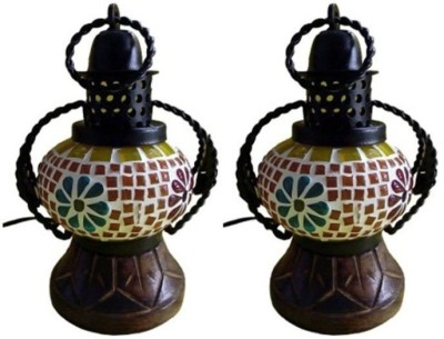 Onlineshoppee Wooden & Iron Electric Glass Lantern Table Lamp
