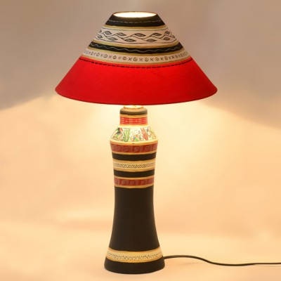 ExclusiveLane 21 Inch Madhubani Handpainted Tapered Table Lamp