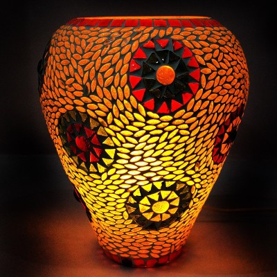 EarthenMetal Handcrafted inverted Dome Shaped Mosaic Style Honey Hive Design Table Lamp