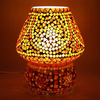 EarthenMetal Handcrafted Red Coloured Crystal Dome Shaped Glass Table Lamp