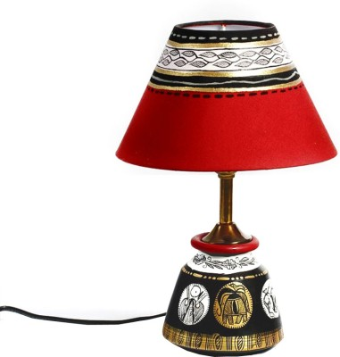 Aapno Rajasthan Black, Gold And Red Terracotta Base Table Lamp
