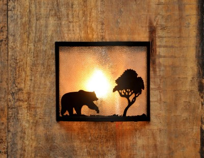 Logam Lone Bear Metal Cut Night Lamp