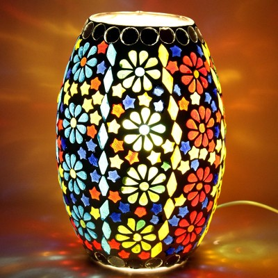 EarthenMetal Handcrafted Traditional Flower Shaped Mosaic Design Multicoloured Glass Table Lamp