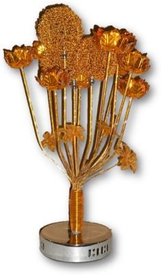 Sudesh Decor Metallic Golden Flower Vase Designer Lamp Table Lamp