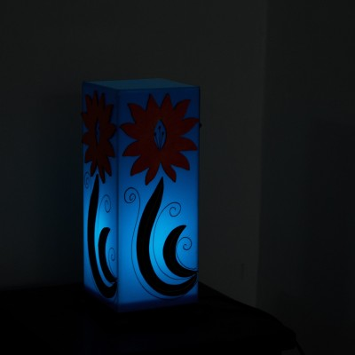 eCraftIndia Glittering Wooden Block Table Lamp