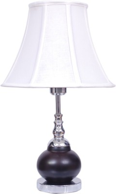 Diya Designs Brown Chrome Finish with White Shade Table Lamp