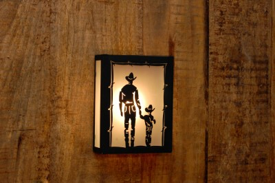 Logam Cowboy with Son Metal Cut Night Lamp