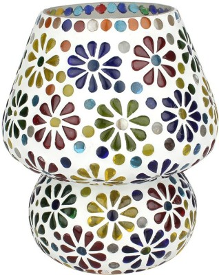 EarthenMetal Handcrafted Colourful Flowers Desgin Mosaic Glass Table Lamp