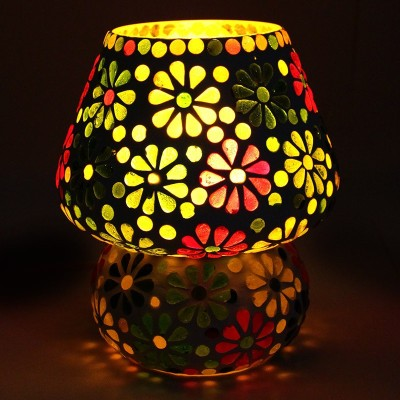 EarthenMetal Handcrafted Colourful Flower Design Dome Shaped Glass Table Lamp