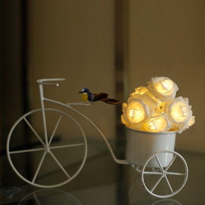 Thinking Of You Starlit Rose Basket Tricycle Plug Free LED Table Lamp