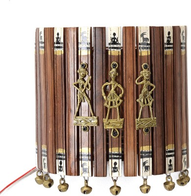 Aapno Rajasthan Convex Wooden Tribal Art Wall Frame With Bells Night Lamp