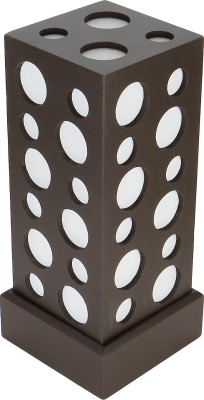 WhiteRay Wooden Square Circle Cut Design Brown Table Lamp