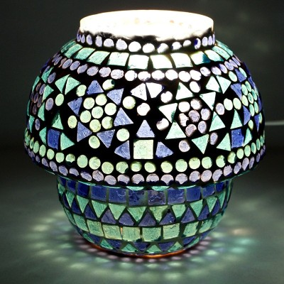 EarthenMetal Handcrafted Blue & White Glass Table Lamp