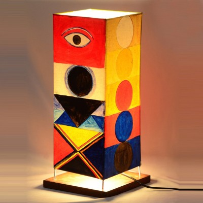 ExclusiveLane 15 Inch Canvas Handpainted Modern Abstract Square Table Lamp