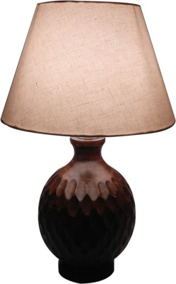 Diya Designs Wooden Round with Off White Shade Table Lamp