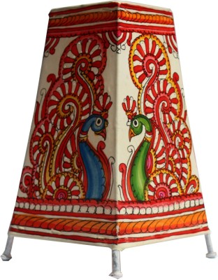 Mynativestore Andhra Handmade Leather (L x H: 15.24 x 22.86 cms, Peacock Blue Green) Table Lamp