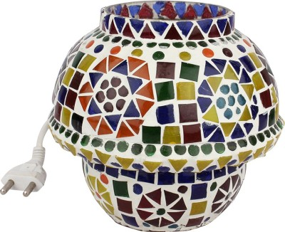 EarthenMetal Handcrafted Traditional Shaped Mosaic Design Multi-coloured Glass Table Lamp