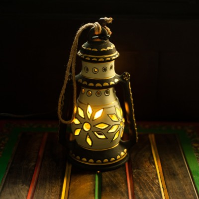 ExclusiveLane Terracotta Handpainted Hanging Cum Night Lamp