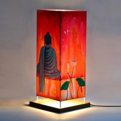ExclusiveLane 15 Inch Canvas Handpainted Meditating Buddha Table Lamp