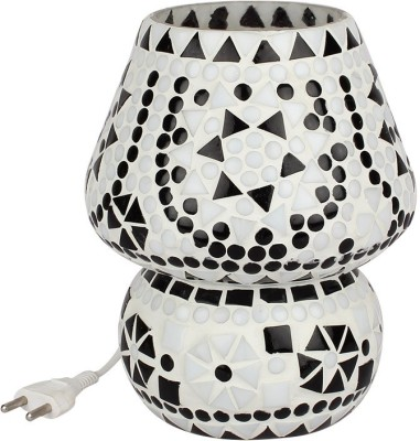 EarthenMetal Handcrafted White Coloured Crystal Dome Shaped Glass Table Lamp