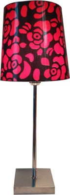 Diya Designs Silver Chrome Finsh with Dimmer and Red & Black Shade Table Lamp