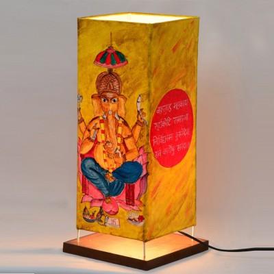 ExclusiveLane 15 Inch Canvas Ganesha Handpainted Table Lamp