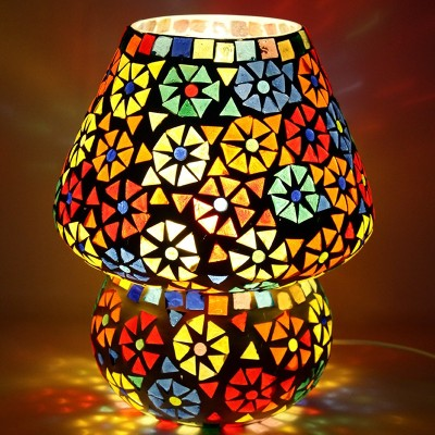 EarthenMetal Handcrafted Dome Shaped Multicoloured Flower Design Glass Table Lamp