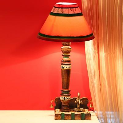 ExclusiveLane Dhokra & Warli Handpainted Wooden Table Lamp