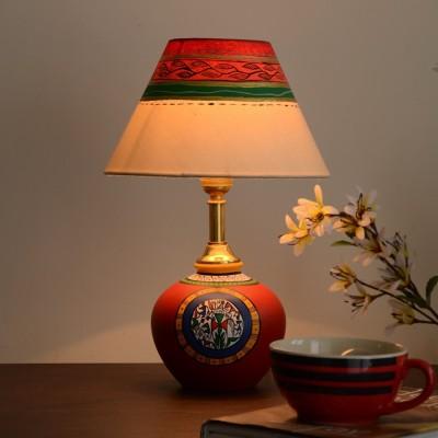Unravel India Terracotta handpainted warli red matki Table Lamp