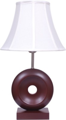 Diya Designs Brown Wooden with White Shade Table Lamp