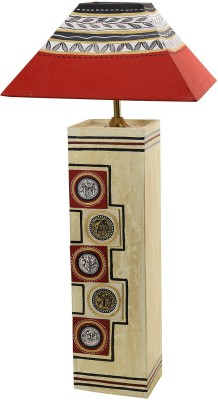 Aapno Rajasthan Hand Painted Wood Shade with Worli Painting Table Lamp