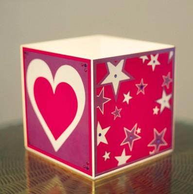 10 A M Heart & Stars Cube Lamp - Acrylic Table Lamp
